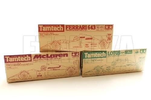 Tamiya #40021-40027-40029 – 1/14 Tamtech Ferrari 643 + Lotus type 102B + McLaren MP4/6 HONDA Body Set Combo