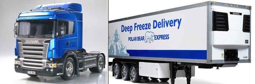 Tamiya #56318-56319 – Tamiya 1/14 Scania R470 Highline Tractor Trucks + 3-Axle Reefer Semi-Trailer Truck 1:14 Scale