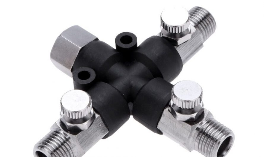 "1/8"" 3-Way Airbrush Air Hose Splitter Manifold Multi Use Airbrush Adaptor with Adjust Knob Valve Airbrush Spary Gun Tattoo Tool"