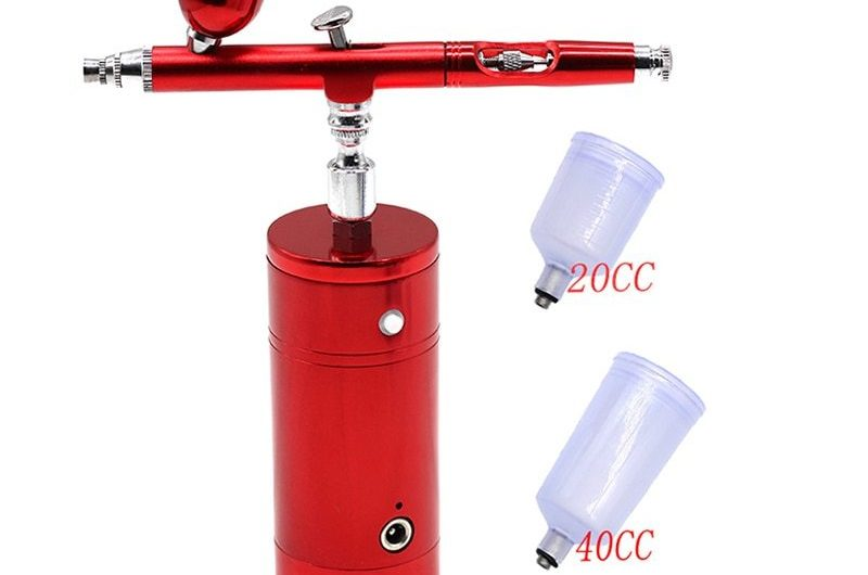 Multi-Purpose Airbrush Air Compressor Kit Dual Action 0.3mm Nozzle Paint Spray Gun Kit Portable Air Brush Set  Battery Charger