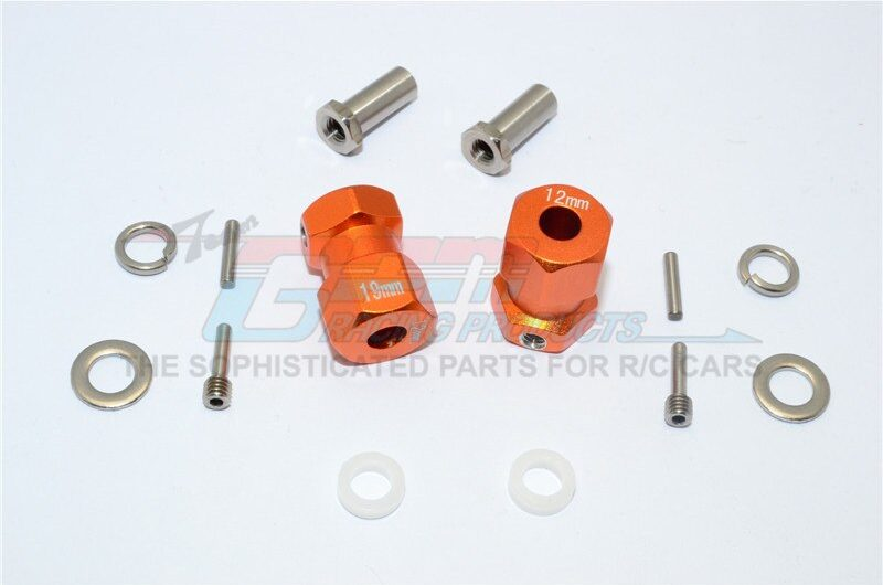 AXIAL-RR10 BOMBER ALUMINIUM WHEEL HEX ADAPTER (INNER 5MM, OUTER 12MM, THICKNESS 19MM) – 2PCS SET – GPM RR010/1219-OR