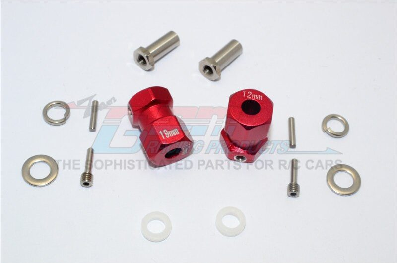 AXIAL-RR10 BOMBER ALUMINIUM WHEEL HEX ADAPTER (INNER 5MM, OUTER 12MM, THICKNESS 19MM) – 2PCS SET – GPM RR010/1219-R