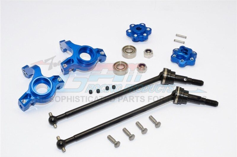 AXIAL-YETI ROCK RACER ALUMINIUM FRONT KNUCKLE ARM WITH HEX  ADAPTERS & STEEL FRONT CVD DRIVE SHAFT  – – GPM YT102195S-B