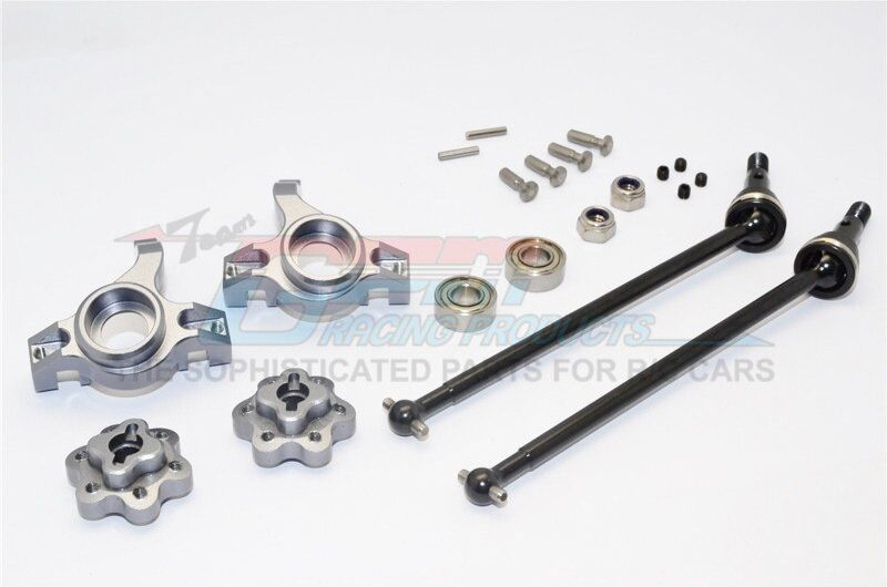 AXIAL-YETI ROCK RACER ALUMINIUM FRONT KNUCKLE ARM WITH HEX  ADAPTERS & STEEL FRONT CVD DRIVE SHAFT  – – GPM YT102195S-GS