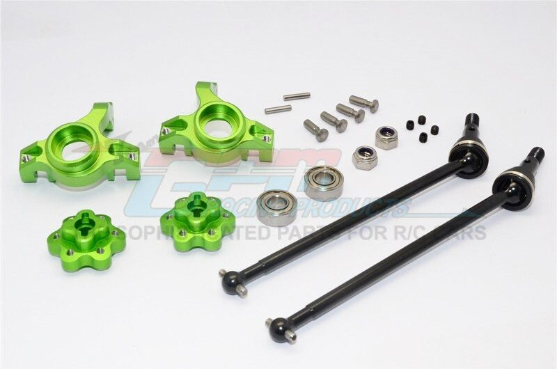 AXIAL-YETI ROCK RACER ALUMINIUM FRONT KNUCKLE ARM WITH HEX  ADAPTERS & STEEL FRONT CVD DRIVE SHAFT  – – GPM YT102195S-G