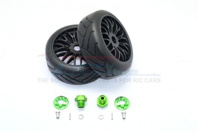 AXIAL-YETI ROCK RACER ALUMINUM 8MM FRONT HEX ADAPTERS+RUBBER ON-ROAD RADIAL TIRES W. PLASTIC WHEELS-12PC SET – GPM YT88910/8MM-G