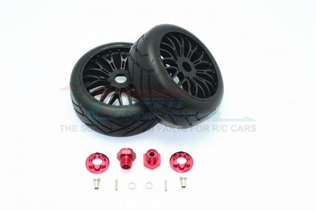 AXIAL-YETI ROCK RACER ALUMINUM 8MM FRONT HEX ADAPTERS+RUBBER ON-ROAD RADIAL TIRES W. PLASTIC WHEELS-12PC SET – GPM YT88910/8MM-R