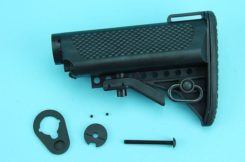 G&P Crane Type Buttstock for Tokyo Marui & G&P M4 / M16 Metal Body Series (Ball Ball) – Black – GP-COP099BK